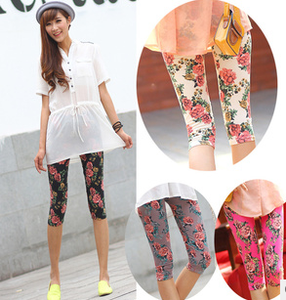 Korean women's clothing rose flowers flowers cropped leggings pants