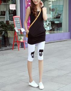 New Summer pants Footless Lady Korea skulls cropped leggings