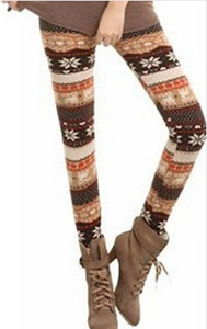 Fall/winter warm snow deer Footless wind and wool thick skinny boot pants 9