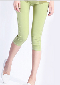 Korean version of Candy-colored woven knitted cropped high waist pencil pants Apple-green