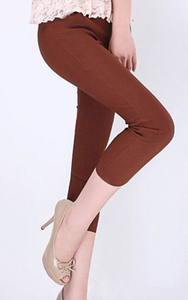 Korean version of the Candy-colored cropped pencil pants high waist woven brick red