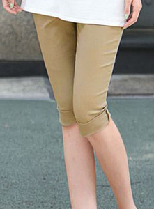 Korean version of the Candy-colored cropped high waist woven pencil pants khaki