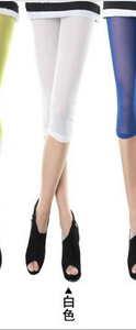 New slim Candy-colored mesh in summer cropped leggings girls color skinny slim stretch pants