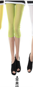 New slim Candy-colored mesh in summer cropped leggings girls color skinny slim stretch pants 12