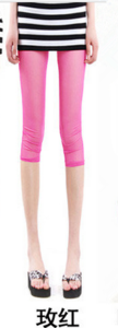 New slim Candy-colored mesh in summer cropped leggings girls color skinny slim stretch pants 5