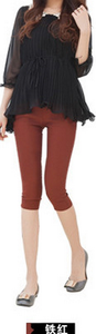 Candy-colored color leisure pants high waist pencil pants feet pants cropped footless tights 15