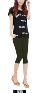 Candy-colored color leisure pants high waist pencil pants feet pants cropped Footless 11