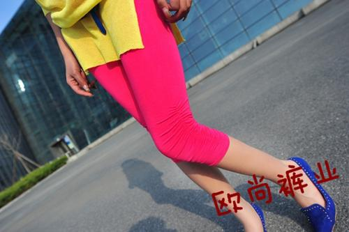 Slim thin Candy-colored wrinkle modal cropped pants
