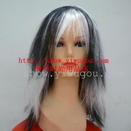 Halloween wig  Black and white wig  Long straight hair