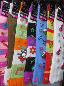 Foreign trade Jacquard-men and women varied five fingers socks