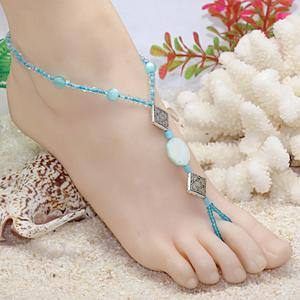 Factory outlets trade fashion handmade beaded turquoise bangles multilevel fringes even-toed foot chain