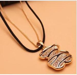 Lovely classic Cubs Korean magazine Zebra print studded leather strap double necklace sweater chain