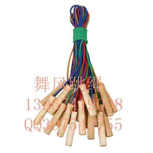 Student tests the standard children's cotton jump rope with wooden handle plastic PVC skipping rope