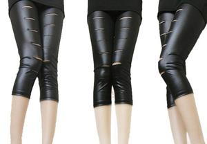 2013 latest trends Matt imitation leather holes in open laughter beggar pants cropped footless tights factory direct