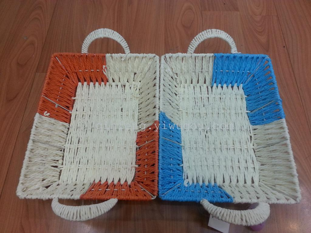 How To Weave A Basket With Rope : Supply rope weaving multicolor rectangular basket f