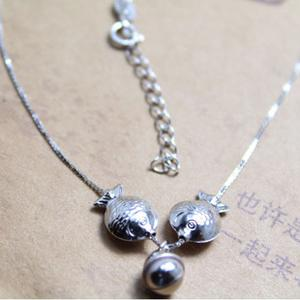 925 sterling silver Platinum plated necklace chain set PISCES silver necklaces popular kissing fish women new