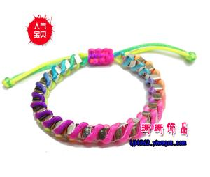 Sweet and colorful threads woven fluorescent lines winding metal chain bracelet 14g