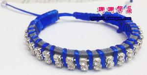Fluorescence line fingernail chain wire and tape colored threads woven diamond bracelet