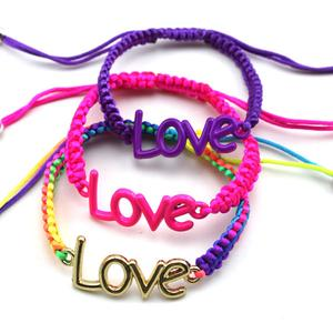 Foreign trade jewelry wholesale handmade alloy paint LOVE woven bracelet jewelry