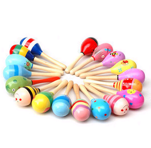 Infant vocal variety of multi-colored wooden sand hammer Orff instruments trumpet Bell random 43048