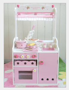 Wooden double-sided kitchen dining breakfast of Strawberry girl play toy MG042