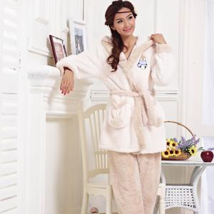 Aonadi brand wholesale ladies pajamas cartoon Plush warm flannel suit Home Furnishing