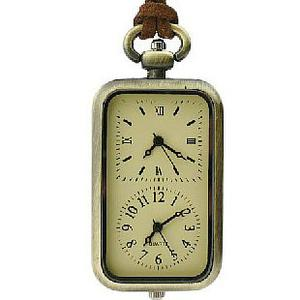European retro rectangular double movement Pocket Watch wall charts necklace sweater chain
