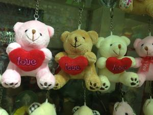 2015 embroidered hearts and feet bear new plush toys plush toys