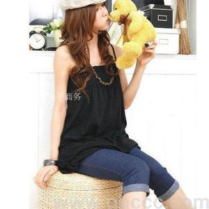 Summer-like cropped pants cuffed hem jeans blue and black color