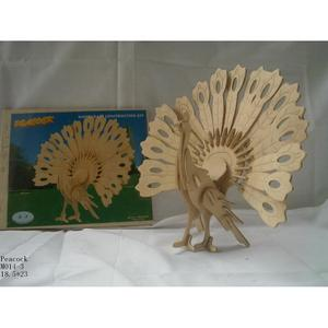 Peacock puzzle toy toys wood model jigsaw puzzle (3 pieces)