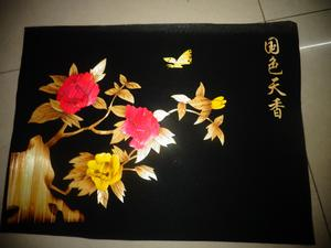Straw painting cored Peony decoration crafts green accessories