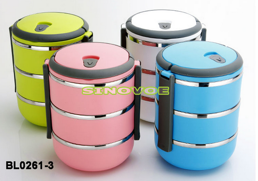 Print Specified colors logos are accepted & Supply Three tier classic stainless steel hot strip of rice lunch ... Aboutintivar.Com