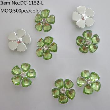 Jerl made 888 rhinestone metal clothes buttons/happy clover resin button