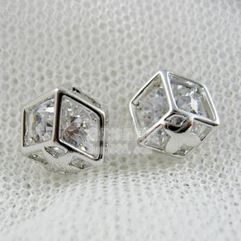 European import zircon Crystal square hollow drill Stud female Korea stylish ear jewelry GSED-034