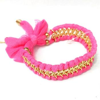 Rose bow lace chain braided bracelet export jewelry bracelet