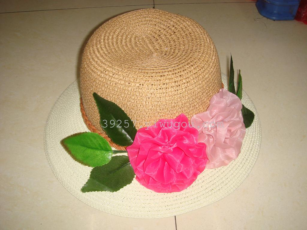 Straw Hats with Flowers