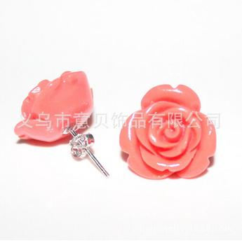 Coral coral natural powdery rose earring Stud jewelry 925 Silver hypo-allergenic ear acupuncture