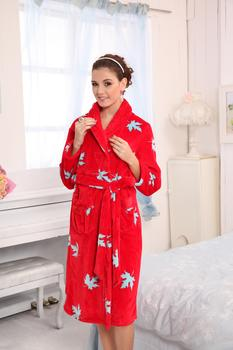 Special offer comfortable and soft thick winter mink flannel pajamas gown high-grade ladies long sleeved cardigan