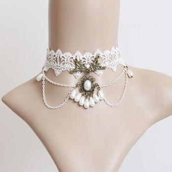 Lace Pearl vintage necklace jewelry ladies jewelry necklace