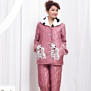 Winter pajamas wholesale lady super soft clip cotton brand pajamas cute dog home dress suit