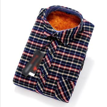 14017-37 fall/winter warm long sleeve men shirt and wool Plaid super soft knitted thermal underwear