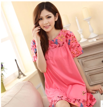 Cotton nightdresses girl cute short loose sleeves home wear Pajamas XL plus fertilizer dresses for pregnant women