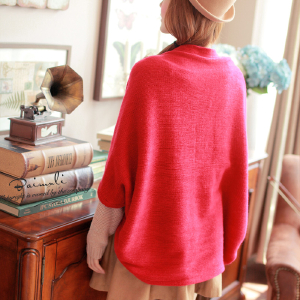 Korean autumn ladies knitted cardigan long shawl loose bat sleeve jacket in code