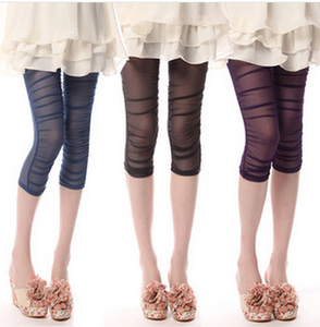 Korea brand pants mesh Candy-colored cropped leggings