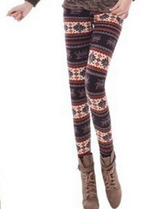Fall/winter warm snow deer Footless wind Additionally wool thick skinny boot pants 3