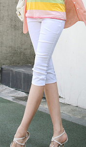 Korean version of Candy-colored woven knitted cropped high waist pencil pants white