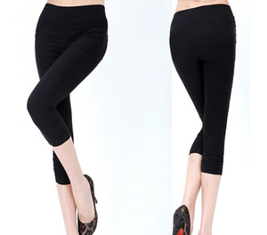 Korean version of Candy-colored woven knitted cropped high waist pencil pants black