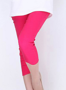 Korean version of Candy-colored woven knitted cropped high waist pencil pants rose