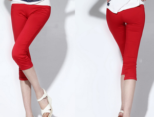 Korean version of Candy-colored woven knitted cropped high waist pencil pants Red