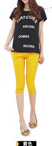 Candy-colored high waist pencil pants feet pants color leisure pants cropped Footless 12